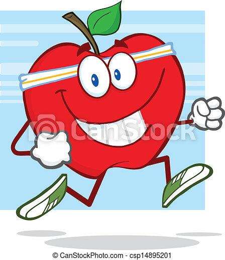 sano, jogging, mela, rosso - csp14895201