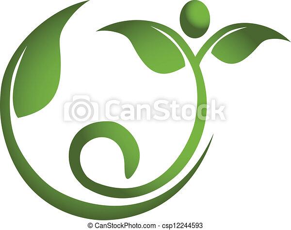 sano, logotipo, uomini, foglia, idoneità - csp12244593