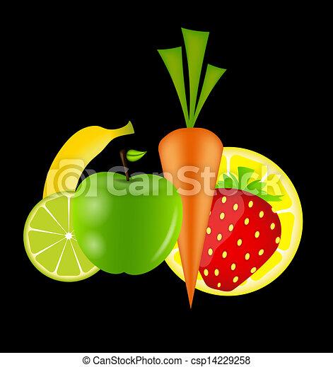 sano, menu, illustrazione, cibo, vettore, sagoma - csp14229258