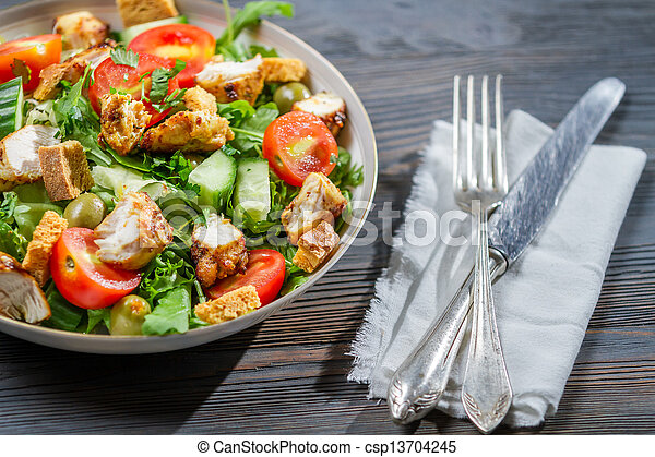 sano, pronto, mangiare, insalata - csp13704245