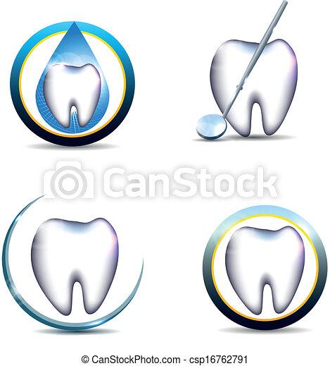 Simbolos de dientes saludables - csp16762791