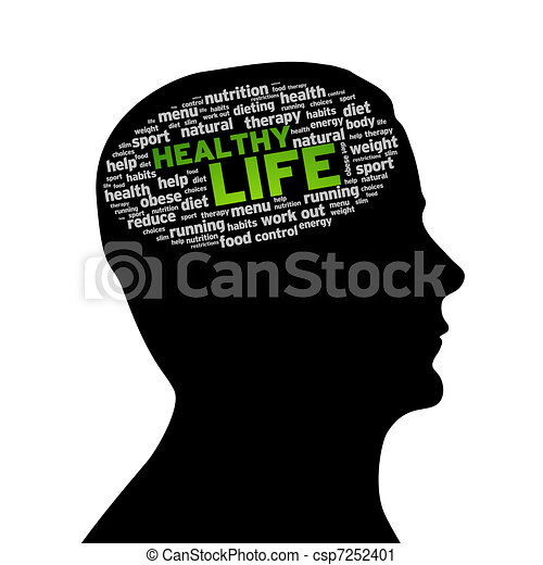 sano, silueta, cabeza, -, vida - csp7252401