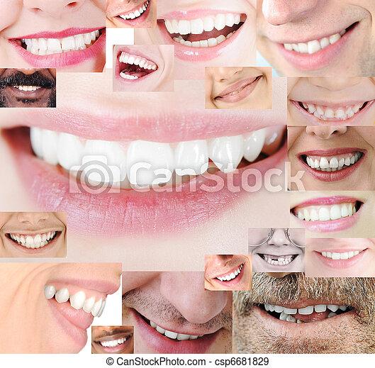 sano, sorriso, collage, denti umani - csp6681829