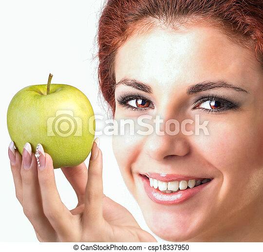 sano, sorriso, denti bianchi - csp18337950