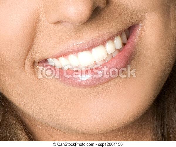 sano, sorriso, donna, denti - csp12001156