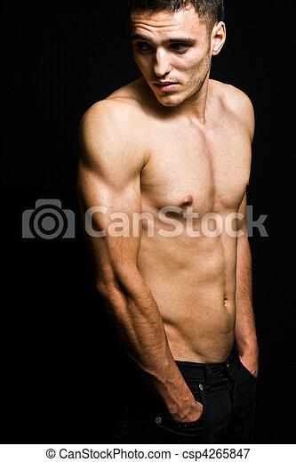 sans chemise, jeune, une, masculin, frais, homme - csp4265847