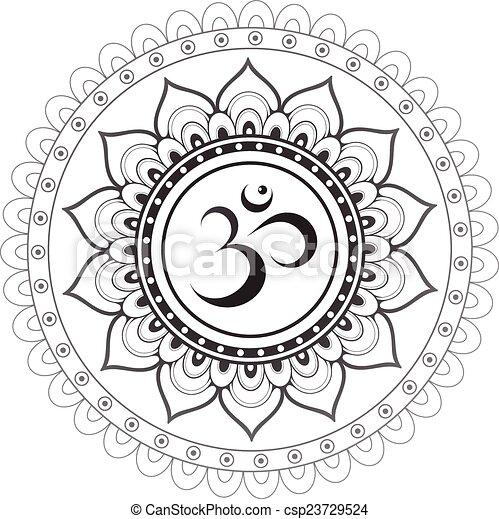 Sanskrit sacred symbol Om with ethn - csp23729524