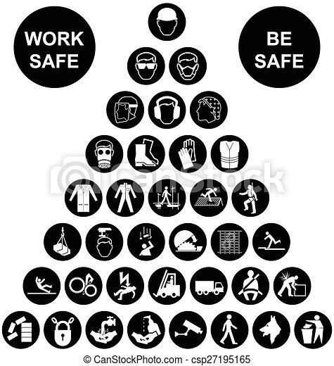 santé, coll, pyramide, sécurité, icône - csp27195165