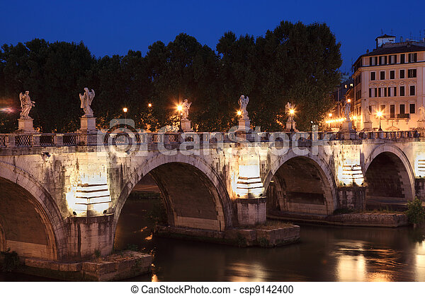 Sant' Angelo Bridge at night, beautiful old sculptures and lanterns - csp9142400
