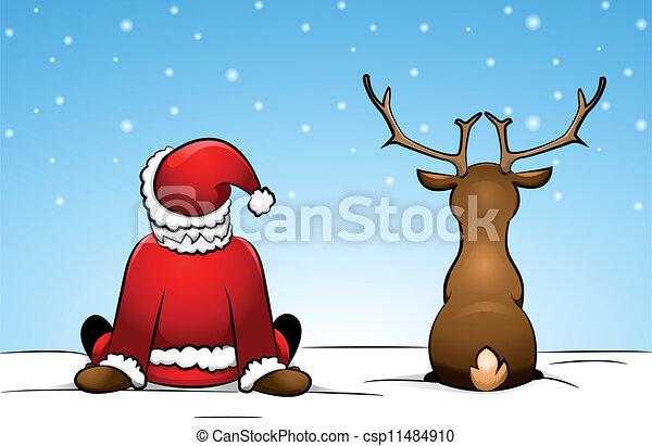 Santa and a reindeer  - csp11484910