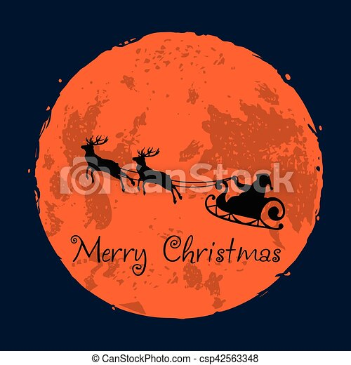 Santa and His Reindeer on Full Moon Background Christmas Greeting Card - csp42563348
