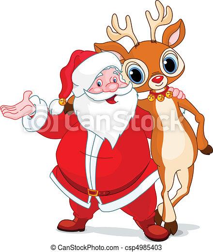 Santa and his reindeer Rudolf - csp4985403