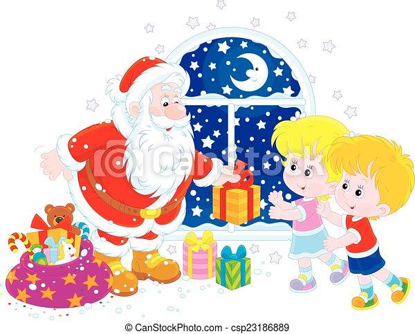 santa and kids csp23186889 - Santa And Kids