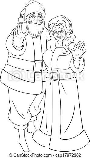 Santa and mrs claus waving hands for christmas coloring page. Vector ...