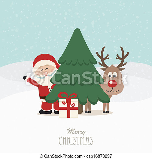 santa and reindeer behind christmas tree snowy background - csp16873237