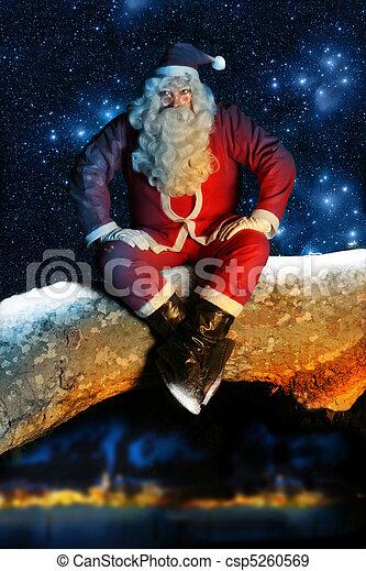 Santa and Snow at night - csp5260569
