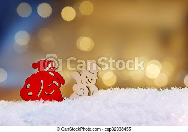 Santa and snowman with bokeh lights - csp32338455