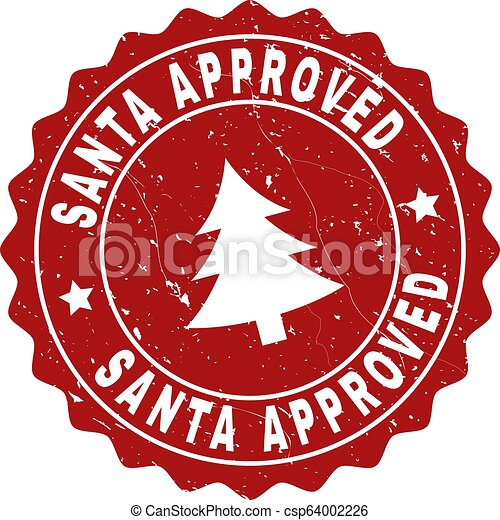 SANTA APPROVED Grunge Stamp Seal with Fir-Tree - csp64002226