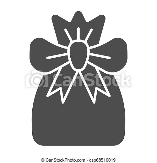 Santa bag solid icon. Xmas bag with present vector illustration isolated on white. Present bag glyph style design, designed for web and app. Eps 10. - csp68510019