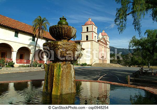 Santa barbara mission, santa barbara, ca, usa - csp0948254