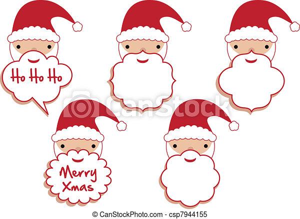 set of santa beard frames vector template