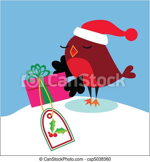 Santa bird christmas gift - csp5038360