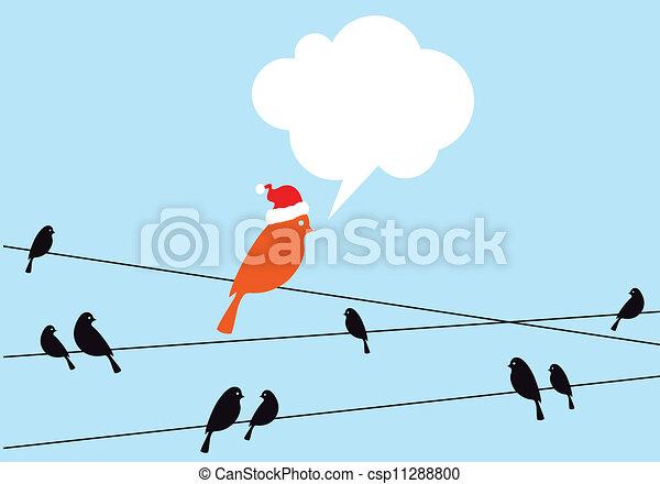 Santa bird on wire, vector - csp11288800