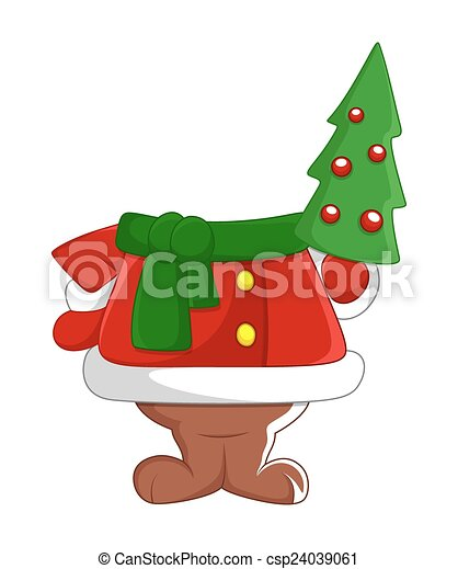 santa body with christmas tree csp24039061