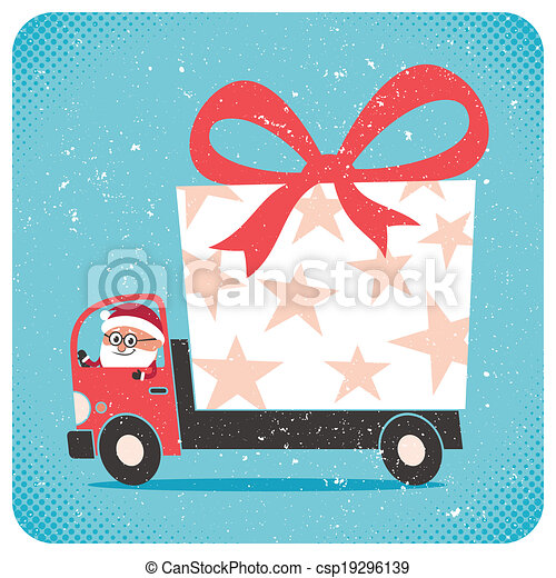 Santa Bringing Gift - csp19296139