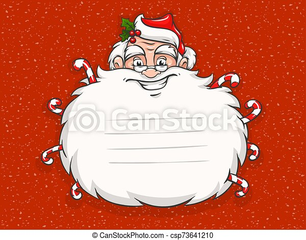 santa, cabeza, lindo, barba, claus, candies., sonriente, pegatina, dulce - csp73641210