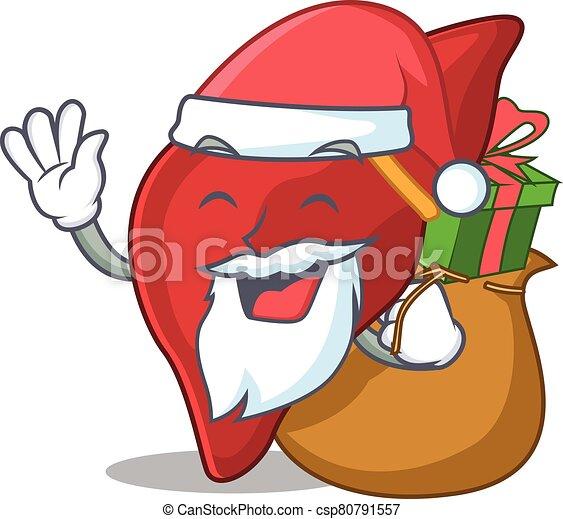 santa, caricatura, presente, fígado, desenho, natal saudável, human - csp80791557