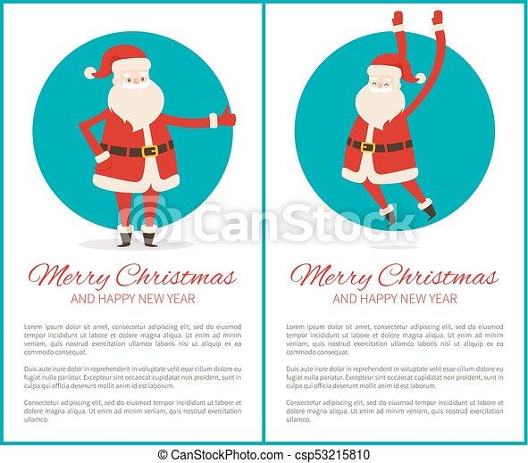 Feliz Navidad feliz poster de año nuevo con Santa - csp53215810