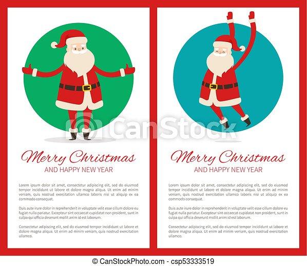 Feliz Navidad feliz poster de año nuevo con Santa - csp53333519