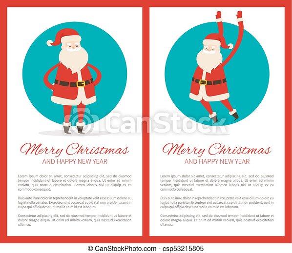 Feliz Navidad feliz poster de año nuevo con Santa - csp53215805