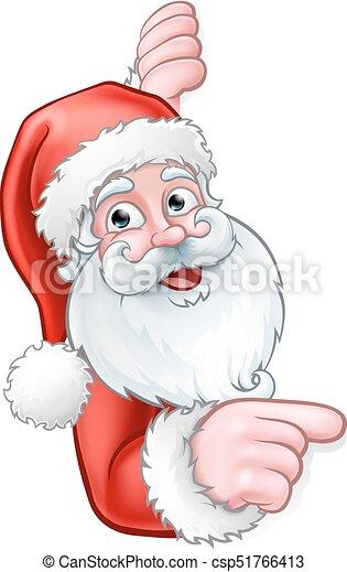 Santa Cartoon Pointing from Behind Sign - csp51766413