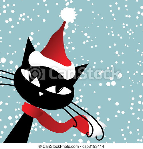 santa cat christmas card eps vector search clip art rh canstockphoto com black cat christmas clipart christmas cat clipart free