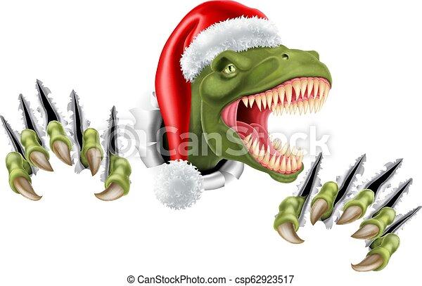 Dinosaur Christmas.Santa Christmas Hat T Rex Dinosaur