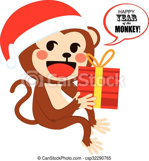 santa christmas monkey cute happy monkey wearing santa clip art rh canstockphoto com cute santa and reindeer clipart