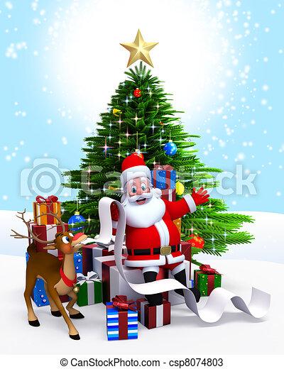 Santa Christmas Tree Gift List Santa Claus Sitting Before