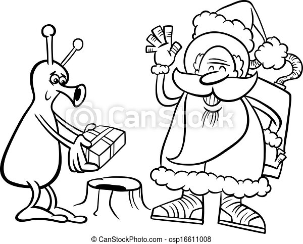 Santa Claus And Alien Coloring Page Black And White Cartoon
