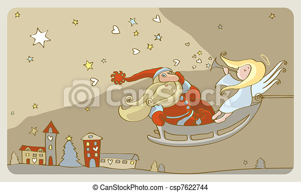 Santa Claus and an angel in a sleig - csp7622744