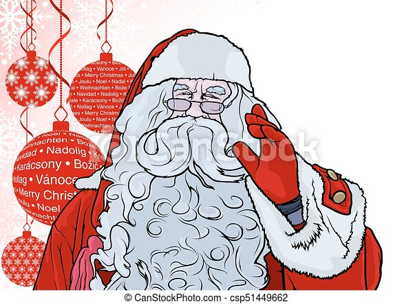 Santa Claus and Background with Baubles - csp51449662