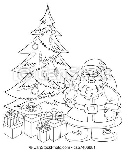 Santa Claus And Christmas Fur Tree Contours Cartoon Santa Claus