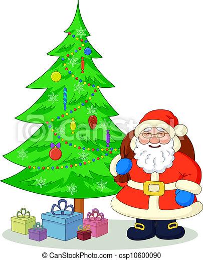 Santa Claus And Christmas Tree Cartoon Santa Claus Green
