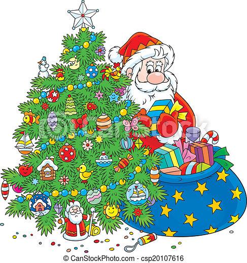 Santa Claus And Christmas Tree Santa Puts Presents Under A