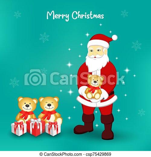 Santa Claus and cute brown teddy - csp75429869