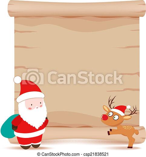 santa claus and deer parchment sign