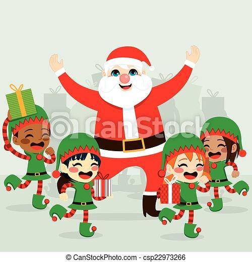 Santa Claus And Elves - csp22973266