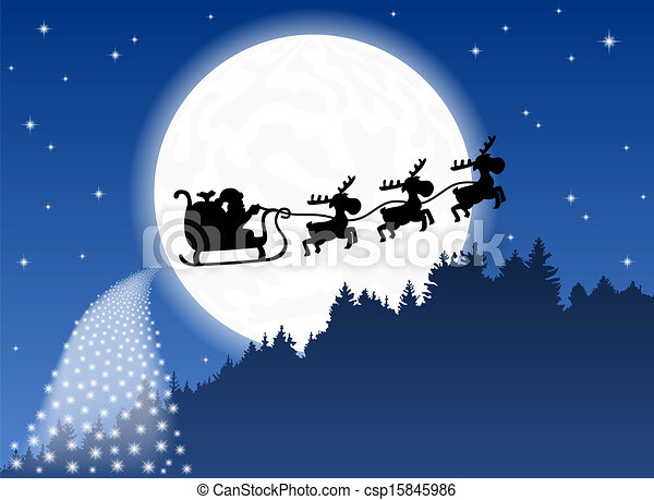vector illustration of santa claus and his reindeer sleigh backlit