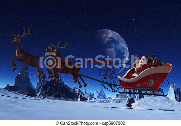 santa claus and his reindeers santa claus is flying in his sleigh